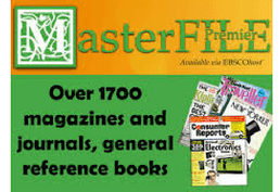MasterFILE Premier Available via EBSCOhost, over 1700 magazines and journals, general reference books